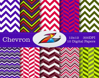 Sale Chevron Digital Paper Zigzag background scrapbook paper Chevron pattern red green chevron Commercial Use