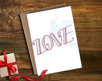 "Christmas/Holiday card - ""love"" hand-lettered"