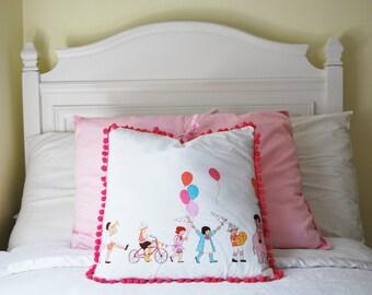 Childrens Decorative Pillow, Throw pillow, Nursey decor, playroom decor, childrens roon decor, pillow, kids pillow, childrens bedding