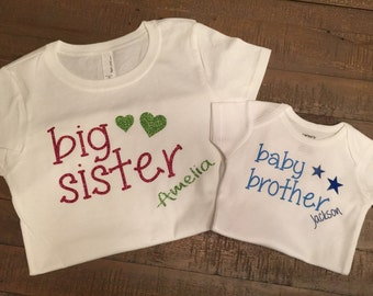 Big Sister Baby Brother Shirt Set - with customizable lettering color