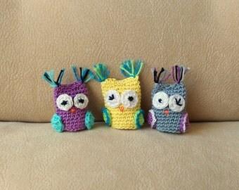 Cute crochet finger puppets Crochet owl Set of 3 amigurumi little gift for children crochet owl puppet Puppet show animal gift