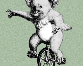 Koala Unicycle Print