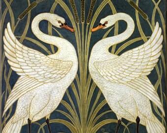 "4.25"" x 4.25 "" Ceramic Accent Tile- White Swans"