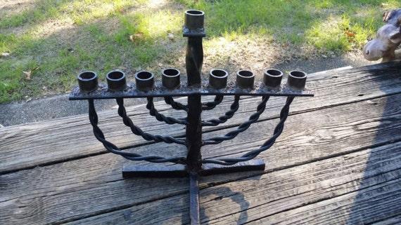 Menorah, Handmade Rustic metal Menorah, Hand forged Menorah, Hanukkah decorations.