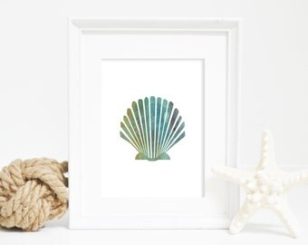 Shell Art, Sea Shell Wall Art, Watercolor Scallop Print, Seashell Print, Beach Home Decor, Beach Wall Art, Nautical Wall Art, Coastal Decor