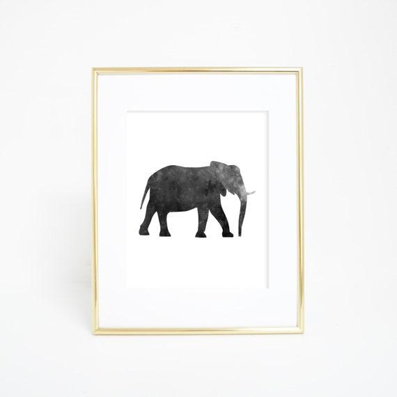 Elephant Print, Elephant Wall Art, Printable Wall Art, Black and White, Wall Printables, Nursery Decor, Nursery Prints, Animal Wall Prints