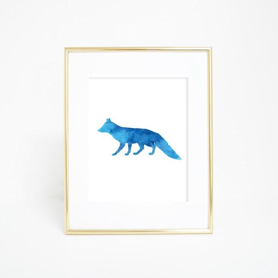 Blue Fox Print, Printable Art, Fox Prints, Fox Wall Art, Digital Prints, Wall Hanging, Blue, Watercolor Print, Instant Download, Fox