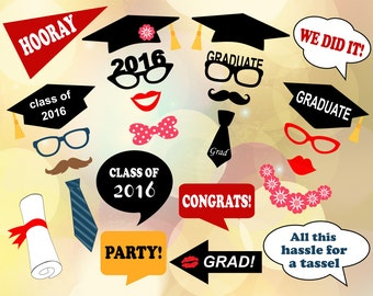 Printable Graduation Photo Booth Props, 2016 Graduation Photo Booth Props, Graduation Photobooth Printable, 2016 Graduation Party Props 0167