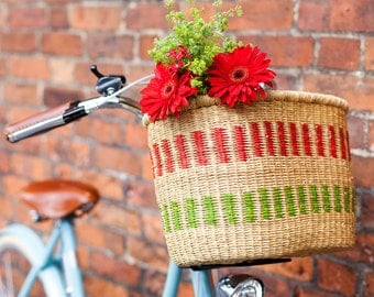 NISOBILA: Handcrafted Red and Green Stripe Oblong Bike Basket