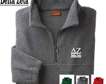 Delta Zeta // DZ // Sorority Embroidered Fleece Quarter Zip Jacket // Pullover