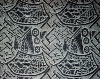 Jacquard No.1/2(Large)-Cotton Woven Yarn Dyed-Black Color-Garment supply-Handcraft material-Multi purpose supply-2Yards
