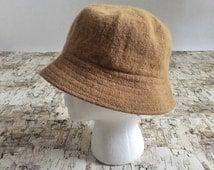 Vintage wool bucket hat. Mustard yellow hat. Yellow wool hat. Yellow bucket hat. 1970's bucket hat. 70's hat.