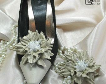 Leather Flower Shoe Clips, Taupe Shoe Clips / Pins, Shoe Accessories. 3rd Leather Anniversary, Wedding, Special Gift