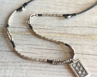 Silver beads necklace, long silver beads necklace, Square silver necklace, square silver pendant, black silver necklace