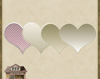 4 Art Deco PNG Hearts *Instant Download*