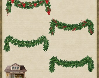 4 Christmas Garland Swag Trims 2 PNG *Instant Download*