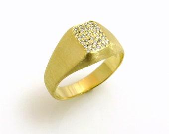 Pinky ring, 14k gold, Signet pinky ring, Diamond gold ring, Pave diamond ring, Diamond unique ring, Little finger ring, Womens signet ring