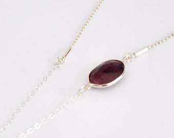 Sterling Silver Red Sapphire - Necklace