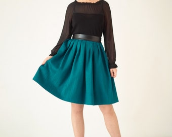 Teal pleated mini skirt, unique, one-of-a-kind, high waist, short, petrol, party,  gift for her, jacquard, turquoise, faux leather, ball,