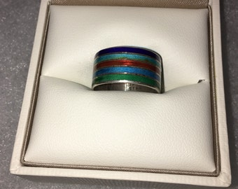 Stering Silver Striped Multicolored Ring Size: 6