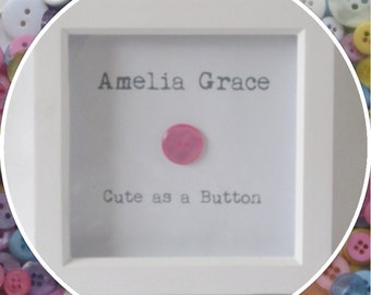 Personalised 'Cute as a Button' Baby Girl Button Frame