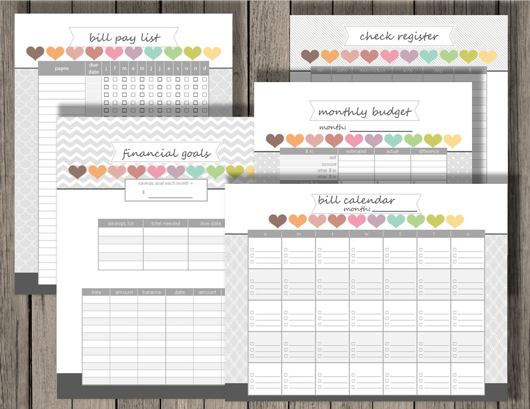printable set, personlized monthly budget, financial goals, bill pay ...