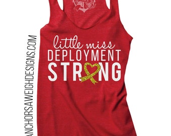 Little Miss Deployment Strong Tri-blend Racerback