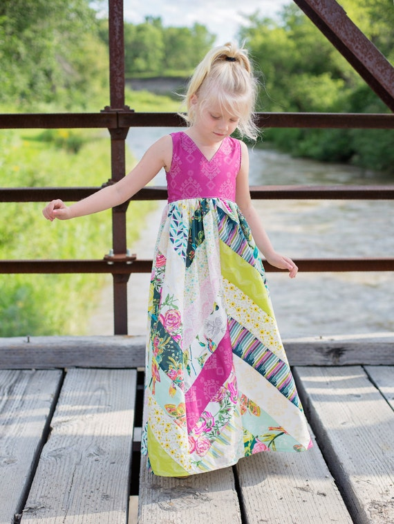 Emma's Herringbone top dress and Maxi  . PDF sewing patterns for girls sizes 2t-12