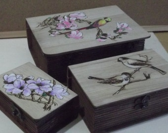 woodburned gift box-set pyrographed, partly colored and painted