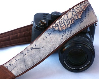 Vintage Map Camera Strap. SLR, DSLR Camera Strap for Nikon, Canon, Sony, other cameras. Traveler Gift. Gift For Photographer. Gift