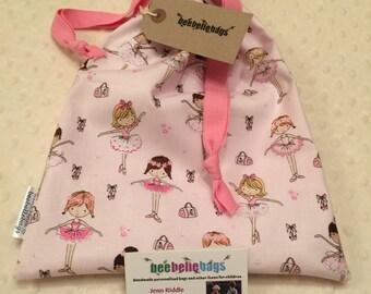 Ballet shoe bag - drawstring, fully lined.