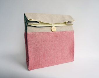 Lunch bag / Reusable lunch bag / Lunch bag in pastel colors / Red lunch bag