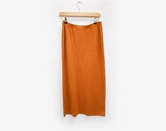 Mustard/ Burnt Orange ribbed knit pencil skirt M