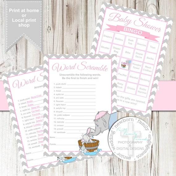 Sweet Sweet Baby Baby Shower Game: Sweet Dumbo Baby Shower Games In Pink By SherasDesignsbyFFF