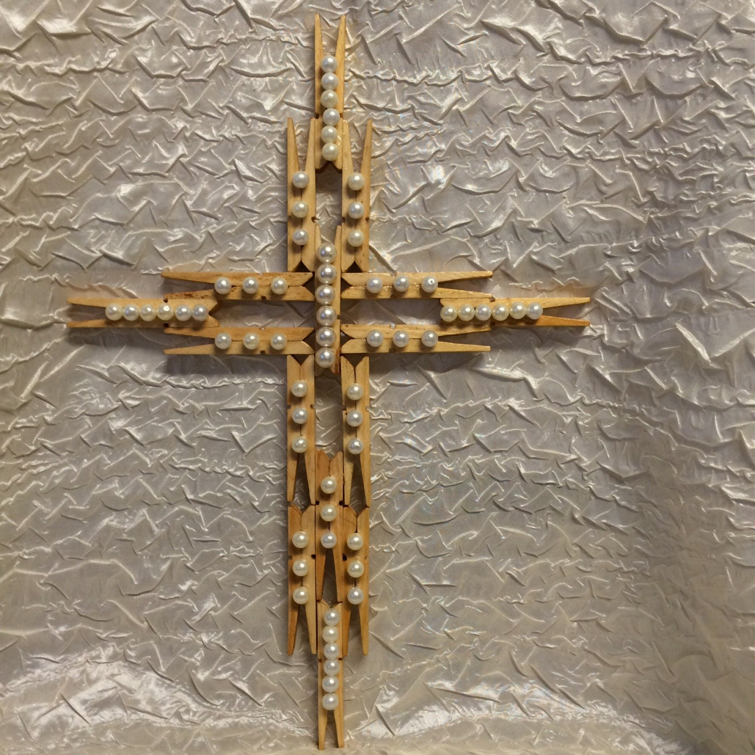 Wooden Clothespin Cross with pearl accents