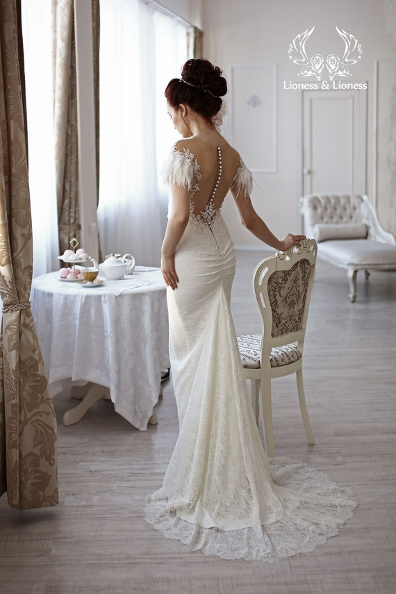 Unique Lace Wedding Dresses : Wedding dress bridal lace unique