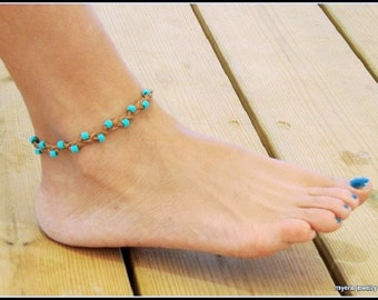 Ladies Ankle Bracelet, Leather Beach Jewelry, Turquoise Anklet, Leather Ankle Bracelet, Foot Jewelry, BFF Gift, Festival Jewelry