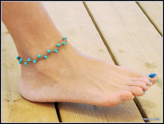 Turquoise Anklet, Women Ankle Bracelet, Leather Beach Jewelry, Leather Ankle Bracelet, Foot Jewelry, beaded anklet, Festival Jewelry