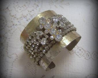 Handmade Upcycled Vintage Rhinestone Cuff Bracelet