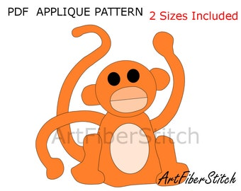 Monkey PDF Applique Template Pattern - available for instant download from ArtFiberStitch