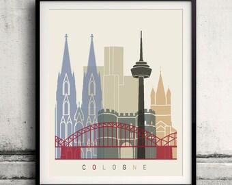 Cologne skyline poster - Fine Art Print Landmarks skyline Poster Gift Illustration Artistic Colorful Landmarks - SKU 1843