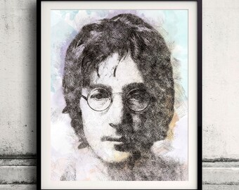 John Lennon portrait 01 in pen & watercolor - Fine Art Print Glicee Poster Gift Illustration Artist Poster - SKU 1963