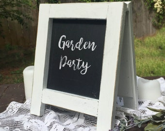 White Chalkboard Easel, Chalkboard Sign, Chalkboard A Frame, Tabletop Sign