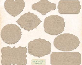 digital scrapbooking frame clip art scrapbook frames burlap digital labels set of 10 printable labels instant download