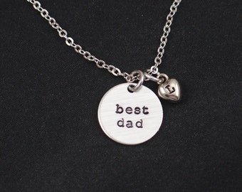 Father's Day, Best Dad necklace, personalized initial charm, hand stamped necklace, gift for dad, dad gift, birthday present, gift for men