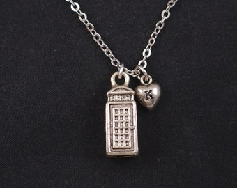 London phone booth necklace, initial necklace, silver 3 dimensional charm, red telephone box, police box, public phone, gift idea for her