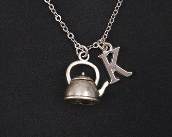Tea kettle necklace, sterling silver filled, initial necklace, silver Tea Time charm, 3D tea kettle, teapot charm necklace, christmas gift