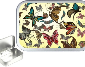 Fawn Butterfly 1oz silver hinged tobacco tin,pill box,storage tin