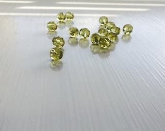 15 Lemon Quartz Faceted Czech Rounds, 8mm, 15pcs, Lemon, Quartz, Rounds, Bead Supplies