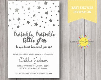 Printable Custom Baby Shower Invitation Neutral Boy or Girl Print your Own Twinkle Twinkle Little Star Silver Foil Print
